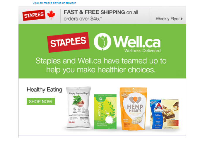 Staples ad for health products