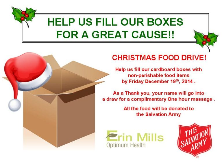 Food Drive at Erin Mills Optimum Health for the Salvation Army at Collegeway in Mississauga