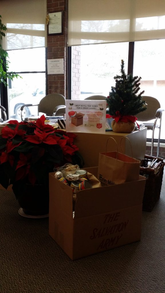 Thanks to our patients for their contribution to the food drive for the Salvation Army Mississauga