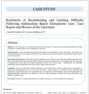 Resolution of breastfeeding and latching difficulty following subluxation based chiropractic care