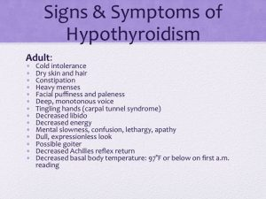 signs and symptoms of hypothyroidism slide