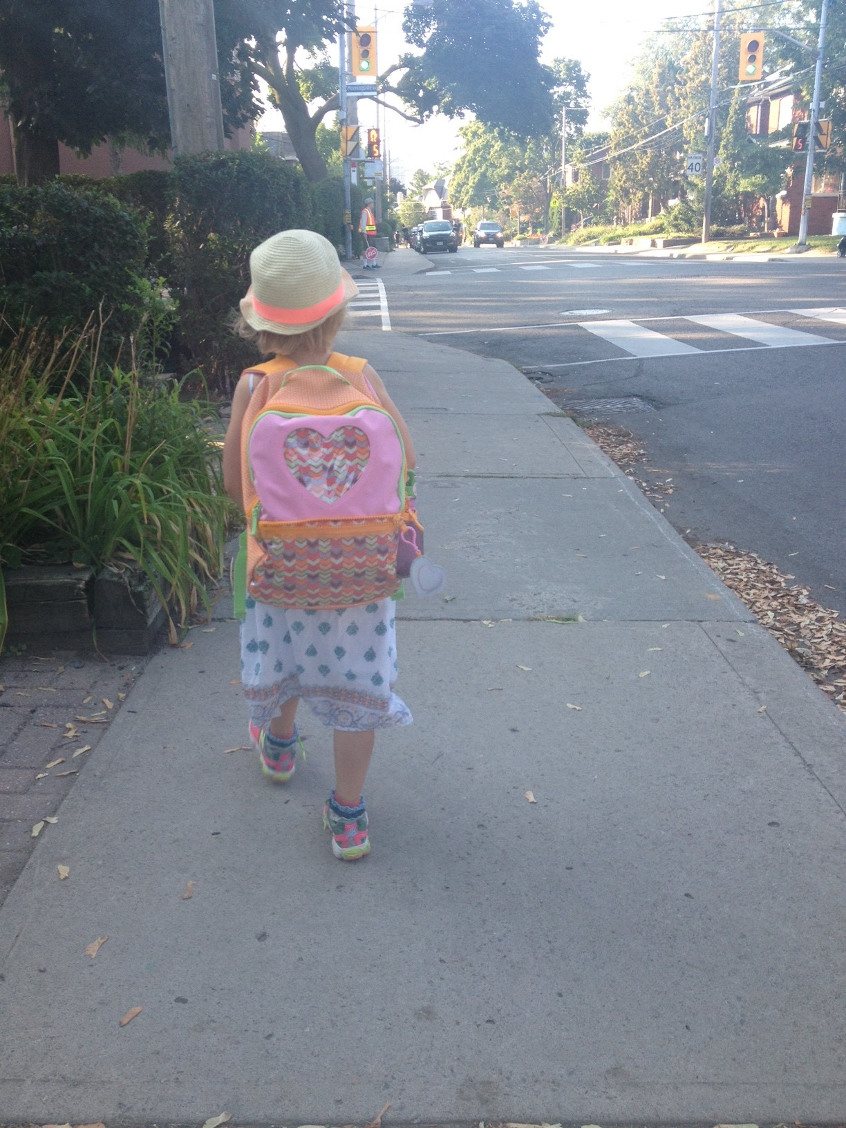back to school backpack walking