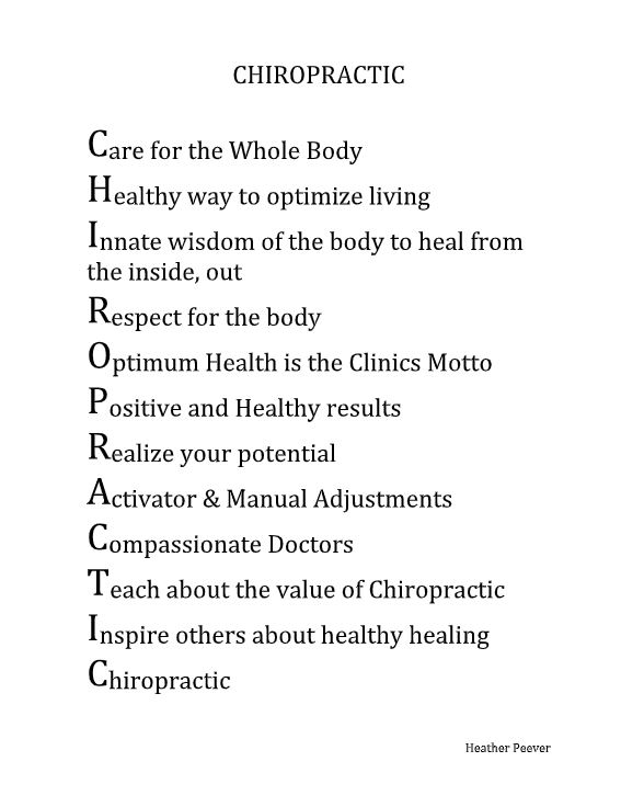 acrostic poem about chiropractic written by heather peever