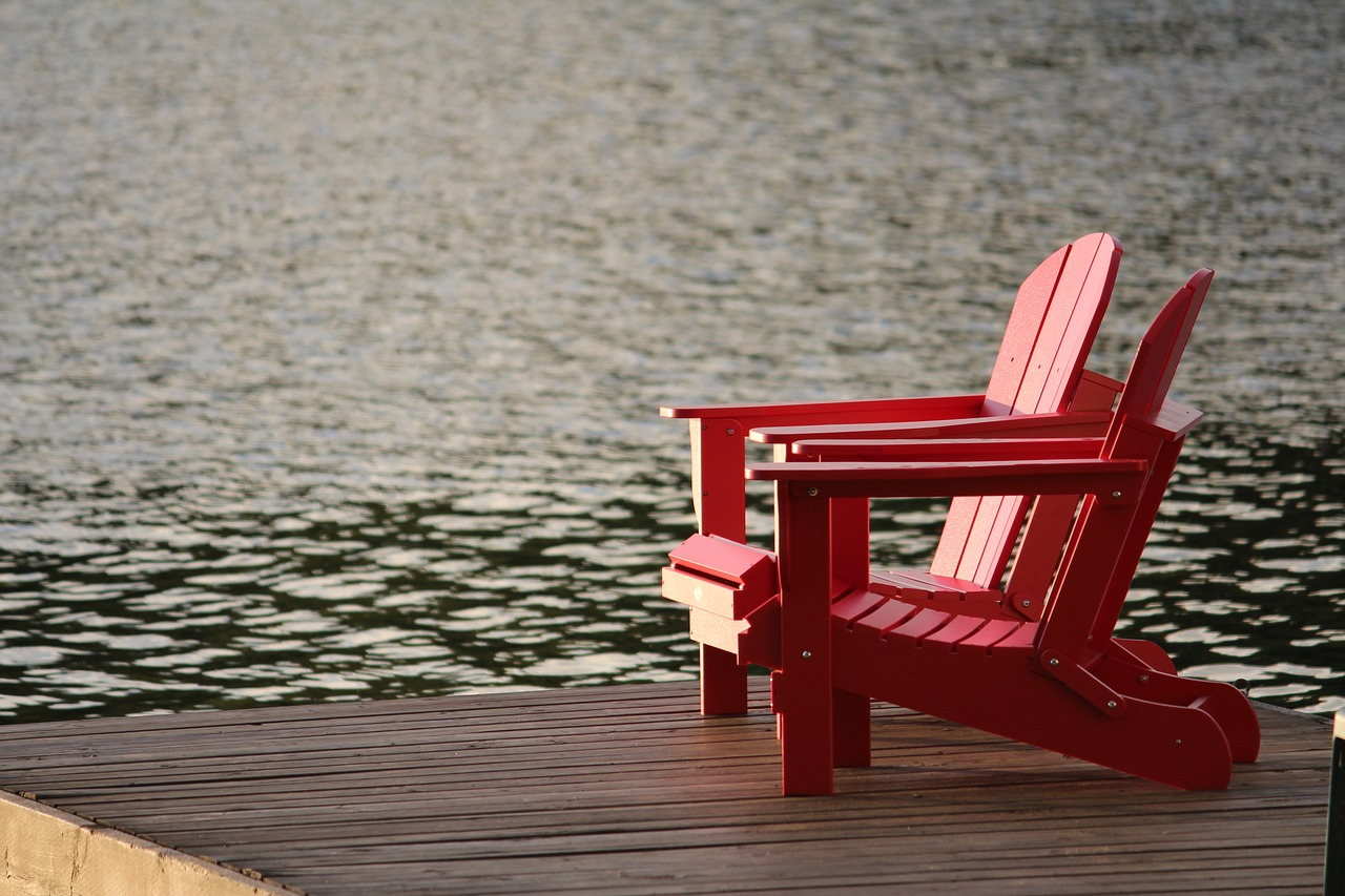 summer cottage muskoka chairs dock